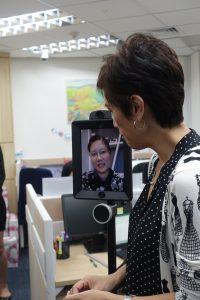 Mrs Josephine Teo with 3E Accounting's Double Robotics