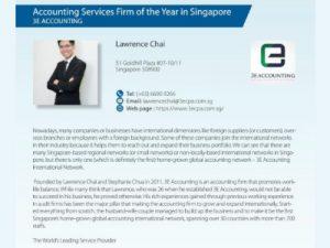 3E会计荣获国际咨询专家颁发的新加坡年度会计服务公司