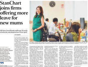 """3E会计私人有限公司很高兴在""""海峡时报""""被报道成为一家为新妈妈提供更多假期的公司"""