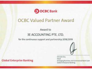 新加坡3E会计获得华侨银行重量级合作伙伴奖2018-2019
