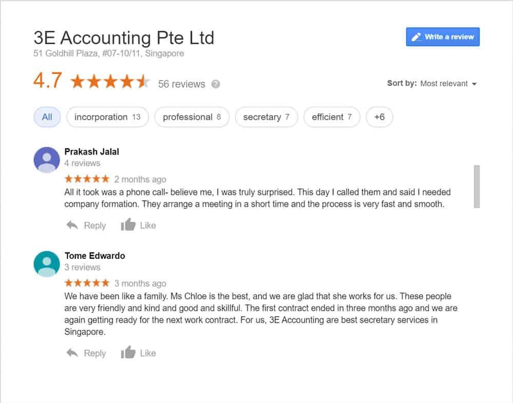 3E Accounting Singapore Google Business Reviews